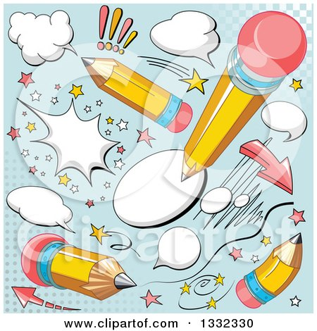 Clipart of Comic Yellow Pencil and Balloon Designs on Blue - Royalty Free Vector Illustration by Pushkin