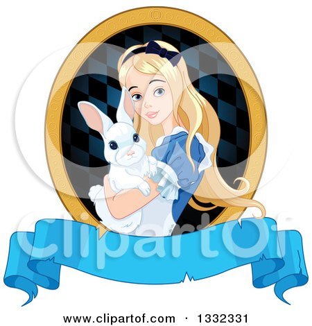 Clipart of Alice in Wonderland Holding a Cute White Rabbit in a Frame over a Blank Banner - Royalty Free Vector Illustration by Pushkin