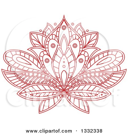 Clipart of a Beautiful Red Henna Lotus Flower - Royalty Free ...