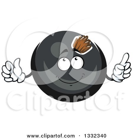Clipart of a Cartoon Black Currant Berry Character Holding up a Finger - Royalty Free Vector Illustration by Vector Tradition SM