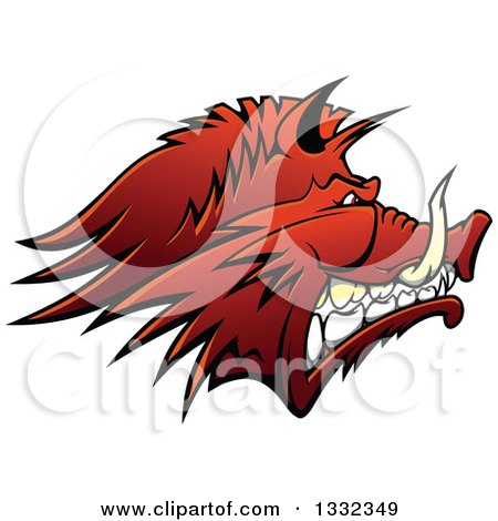 Clipart of a Snarling Vicious Razorback Boar Mascot Head in Profile - Royalty Free Vector Illustration by Vector Tradition SM
