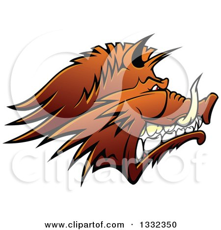 Clipart of a Brown Snarling Vicious Razorback Boar Mascot Head in Profile - Royalty Free Vector Illustration by Vector Tradition SM