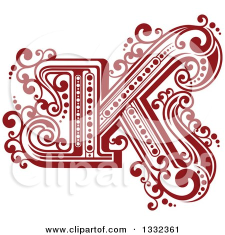 Clipart of a Retro Red Capital Letter K with Flourishes - Royalty Free Vector Illustration by Vector Tradition SM