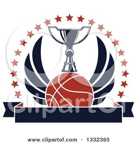 Clipart of a Winged Basketball Under a Trophy with a Circle of Stars over a Blank Banner - Royalty Free Vector Illustration by Vector Tradition SM