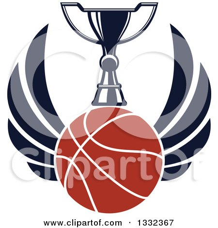 Clipart of a Winged Basketball Under a Trophy - Royalty Free Vector Illustration by Vector Tradition SM