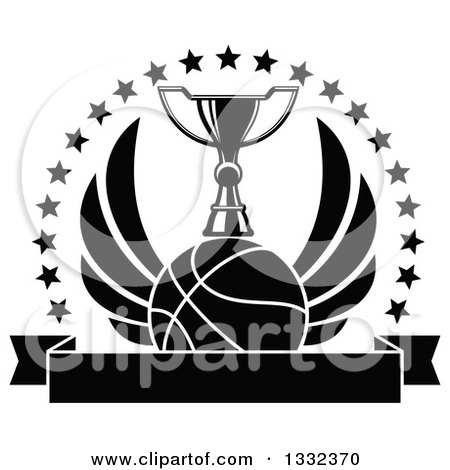 Clipart Of A Black And White Winged Basketball Under Trophy Inside Circle Stars Over Blank Banner