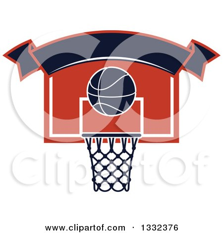 Clipart of a Blank Banner over a Basketball and a Hoop - Royalty Free Vector Illustration by Vector Tradition SM