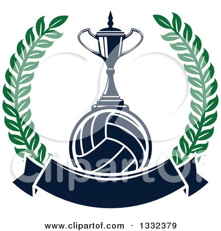 Clipart of a Trophy on a Navy Blue Volleyball in a Lurel Wreath with a Blank Banner - Royalty Free Vector Illustration by Vector Tradition SM