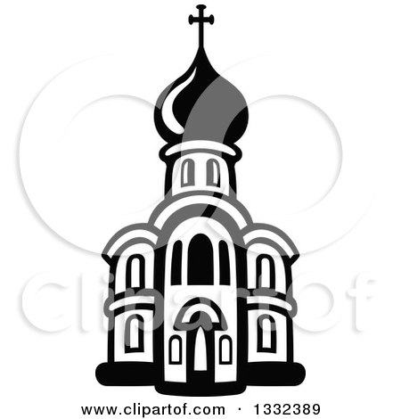 Clipart of a Black and White Church Building 13 - Royalty Free ...