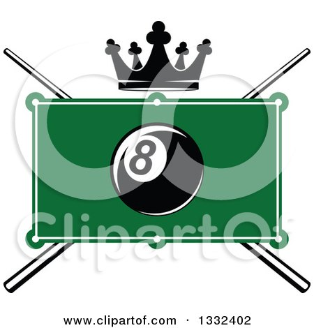 Clipart of a Billiards Pool Eight Ball over a Table, Crown and Crossed Cue Sticks - Royalty Free Vector Illustration by Vector Tradition SM