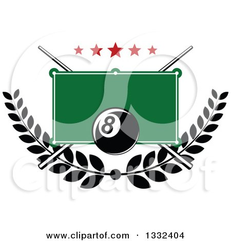 Clipart of a Billiards Pool Eight Ball over a Table, Stars, Laurel Branch and Crossed Cue Sticks - Royalty Free Vector Illustration by Vector Tradition SM