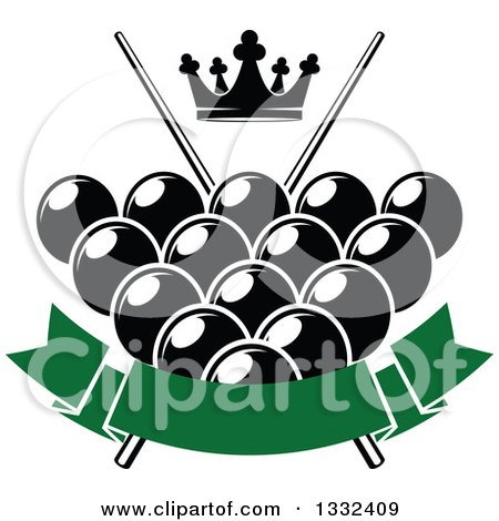 Clipart of a Crown over Billiards Pool Balls, Crossed Cue Sticks and a Bank Green Banner - Royalty Free Vector Illustration by Vector Tradition SM