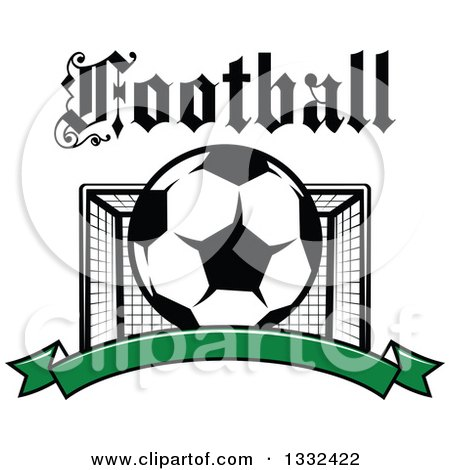 Clipart of Text over a Soccer Ball and Goal Net over a Blank Green Banner - Royalty Free Vector Illustration by Vector Tradition SM