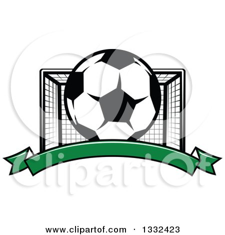 Clipart of a Soccer Ball and Goal Net over a Blank Green Banner - Royalty Free Vector Illustration by Vector Tradition SM