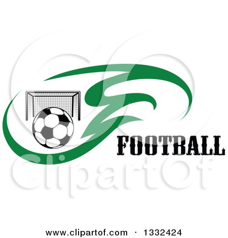 Clipart of a Soccer Ball and Goal Net in Green Flames Beside Text - Royalty Free Vector Illustration by Vector Tradition SM