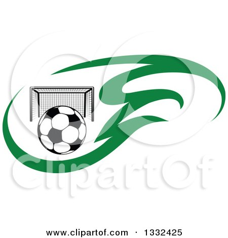 Clipart of a Soccer Ball and Goal Net in Green Flames - Royalty Free Vector Illustration by Vector Tradition SM
