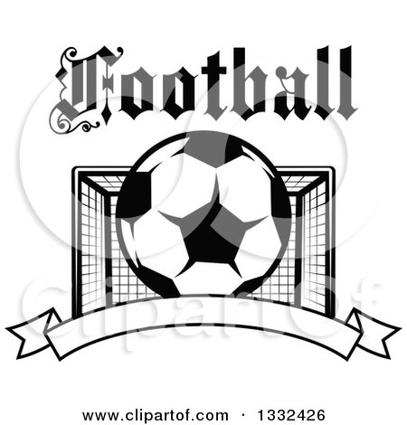 Clipart of Text over a Black and White Soccer Ball and Goal Net over a Blank Banner - Royalty Free Vector Illustration by Vector Tradition SM