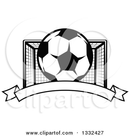 Clipart of a Black and White Soccer Ball and Goal Net over a Blank Banner - Royalty Free Vector Illustration by Vector Tradition SM