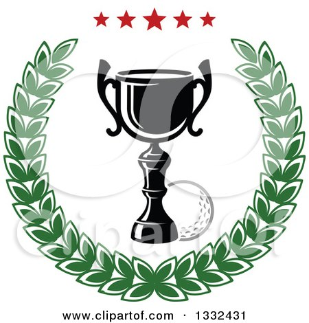 Clipart of a Golf Ball and Trophy in a Laurel Wreath with Stars - Royalty Free Vector Illustration by Vector Tradition SM