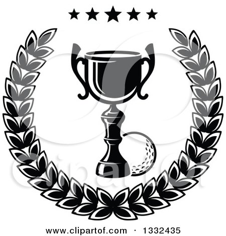 Clipart of a Black and White Golf Ball and Trophy in a Laurel Wreath with Stars - Royalty Free Vector Illustration by Vector Tradition SM