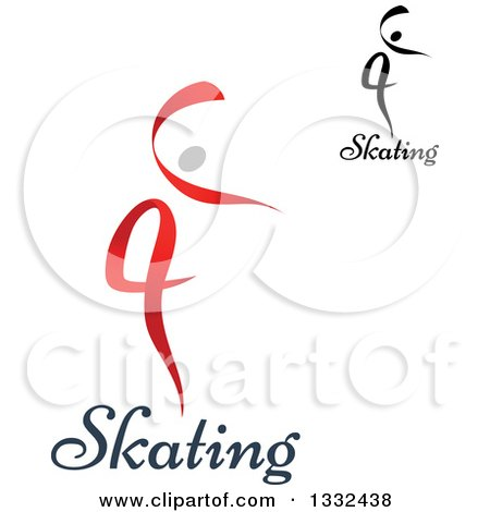 Clipart of Figure Skaters or Dancers with Text - Royalty Free Vector Illustration by Vector Tradition SM