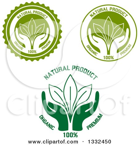 Clipart of Labels of Hands Supporting Leaves with Natural Product Text - Royalty Free Vector Illustration by Vector Tradition SM