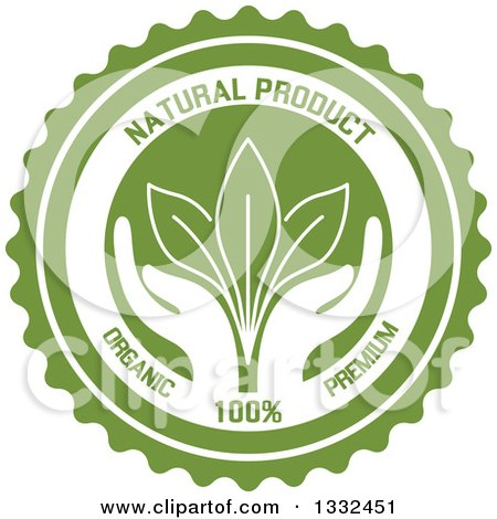 Clipart of a Round Label with a Pair of Hands Supporting Leaves with Natural Product Text - Royalty Free Vector Illustration by Vector Tradition SM