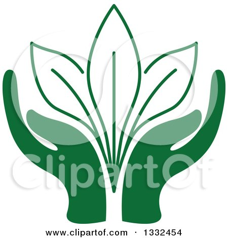 Clipart of a Pair of Green Hands Supporting Leaves - Royalty Free Vector Illustration by Vector Tradition SM