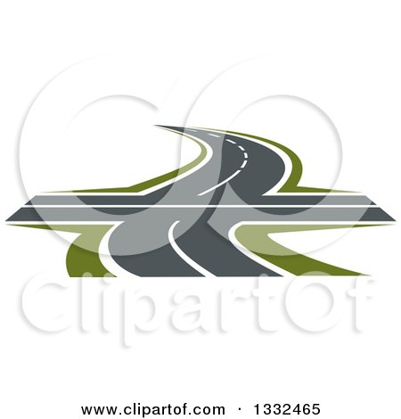 Clipart of a Curvy Road or Highway with Green Grass and an Intersection - Royalty Free Vector Illustration by Vector Tradition SM