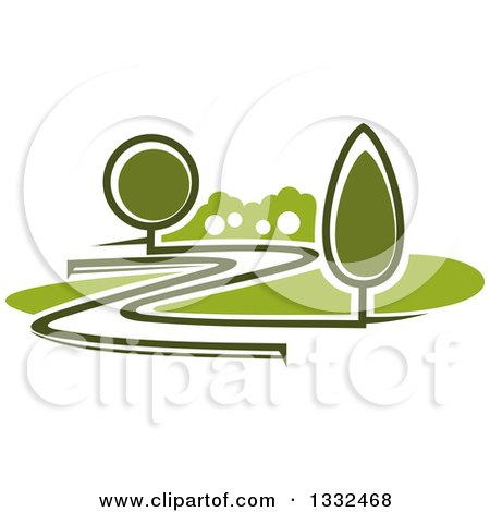 Clipart of a Curvy Driveway or Road Through a Green Landscape or Park - Royalty Free Vector Illustration by Vector Tradition SM