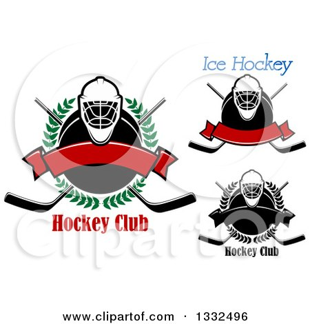 Clipart of Hockey Masks, Pucks and Crossed Sticks with Text - Royalty Free Vector Illustration by Vector Tradition SM