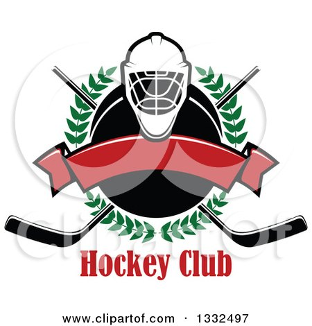 Clipart of a Hockey Mask over a Laurel Wreath, Puck, Crossed Sticks, Text and Blank Red Banner - Royalty Free Vector Illustration by Vector Tradition SM
