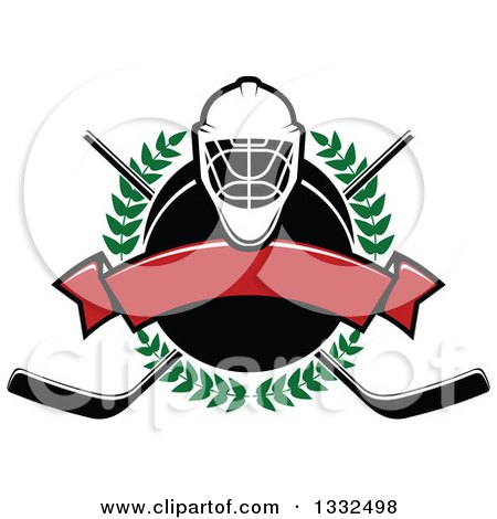 Clipart of a Hockey Mask over a Laurel Wreath, Puck, Crossed Sticks and Blank Red Banner - Royalty Free Vector Illustration by Vector Tradition SM