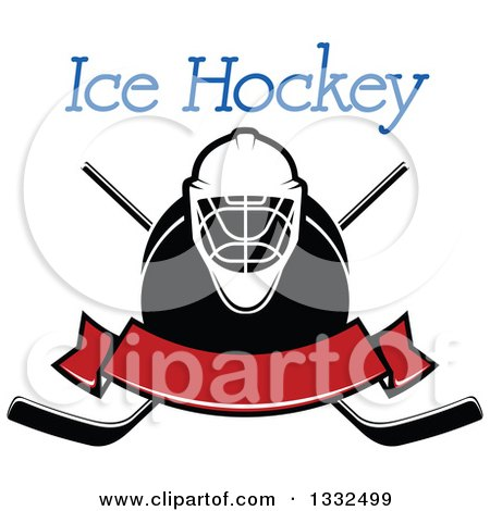 Clipart of Text over a Hockey Mask, Puck, Crossed Sticks and Blank Red Banner - Royalty Free Vector Illustration by Vector Tradition SM
