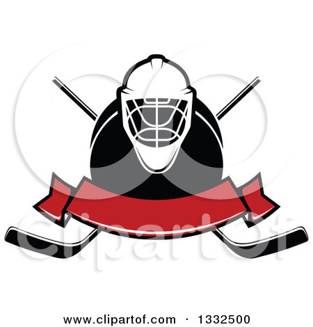 Clipart of a Hockey Mask over a Puck, Crossed Sticks and Blank Red Banner - Royalty Free Vector Illustration by Vector Tradition SM