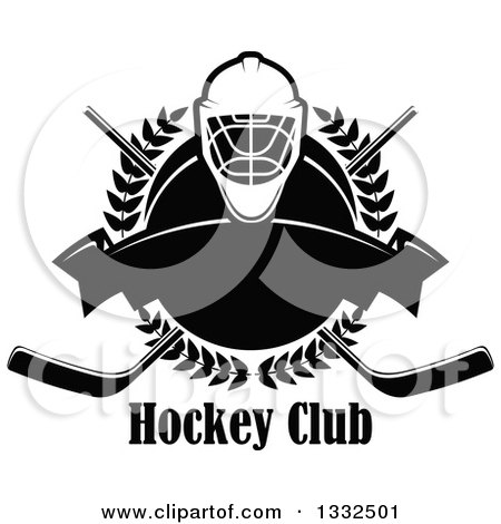 Clipart of a Black and White Hockey Mask over a Laurel Wreath, Puck, Crossed Sticks, Text and Blank Banner - Royalty Free Vector Illustration by Vector Tradition SM