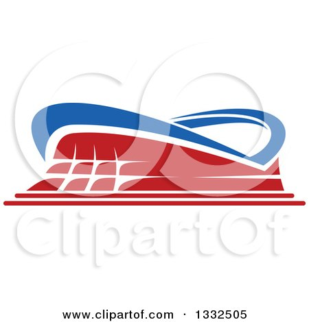 Clipart of a Blue and Red Sports Stadium Building - Royalty Free Vector Illustration by Vector Tradition SM