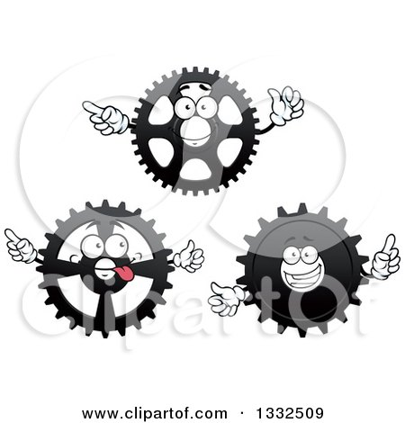 Clipart of Cartoon Gear Cog Wheel Characters - Royalty Free Vector Illustration by Vector Tradition SM