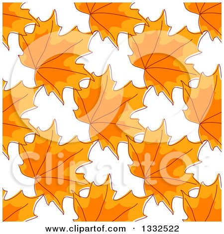 Clipart of a Seamless Background Pattern of Sketched Orange Autumn Maple Leaves - Royalty Free Vector Illustration by Vector Tradition SM