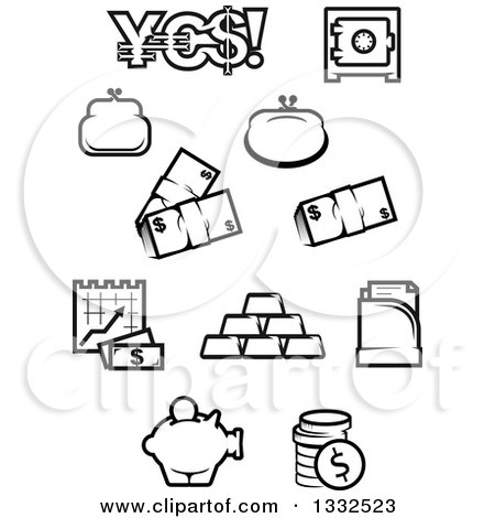 Black and White Finance Icons Posters, Art Prints