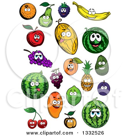 Clipart of Cartoon Fruit Characters Smiling - Royalty Free Vector Illustration by Vector Tradition SM