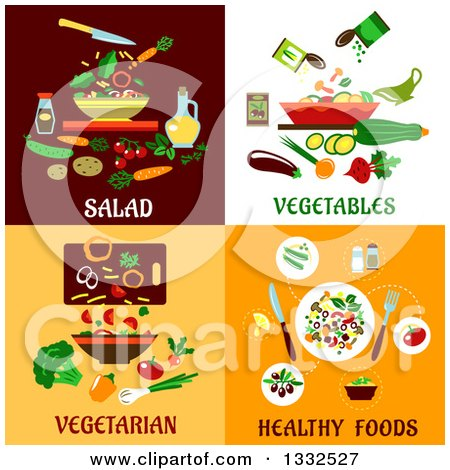 Clipart of Flat Designs of Salads, Vegetables and Healthy Foods - Royalty Free Vector Illustration by Vector Tradition SM
