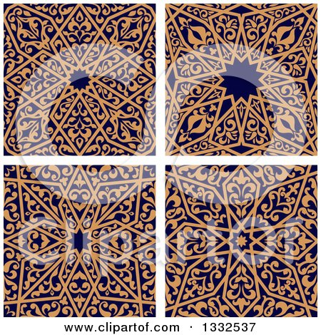 Clipart of Seamless Orange Arabic or Islamic Design Backgrounds on Navy Blue 2 - Royalty Free Vector Illustration by Vector Tradition SM