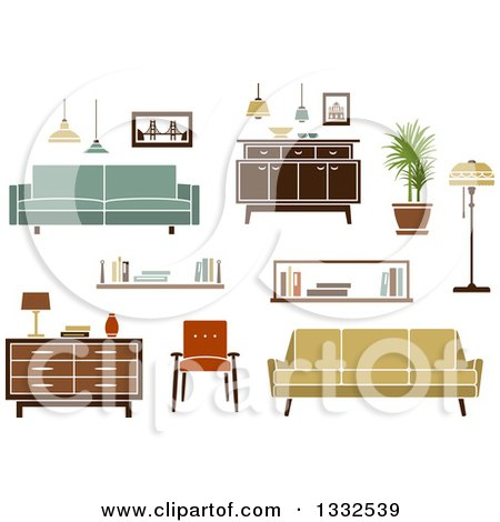 Clipart of Retro Household Furniture 4 - Royalty Free Vector Illustration by Vector Tradition SM