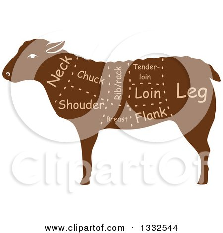 Clipart of a Silhouetted Brown Sheep with Meat Cuts 2 - Royalty Free Vector Illustration by Vector Tradition SM