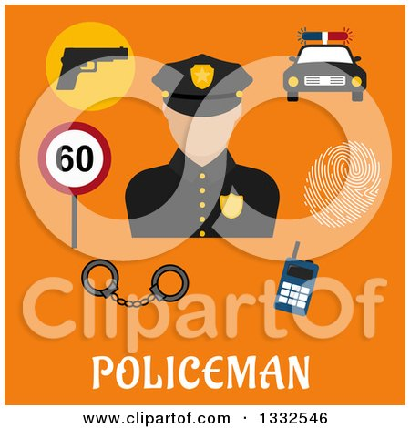 Clipart of a Flat Design Male Police Officer and Items on Orange over Text - Royalty Free Vector Illustration by Vector Tradition SM