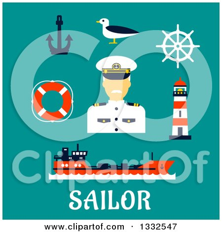 Clipart of a Flat Design Male Sailor Captain and Nautical Items on Turquoise with Text - Royalty Free Vector Illustration by Vector Tradition SM