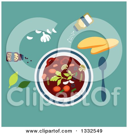 Clipart of a Flat Design Bowl of Vegetarian Soup with Seasonings on Turquoise - Royalty Free Vector Illustration by Vector Tradition SM