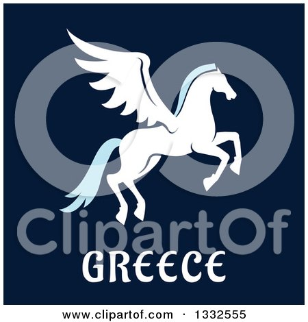 Clipart of a Flat Design Greek Pegasus over Text on Navy Blue - Royalty Free Vector Illustration by Vector Tradition SM