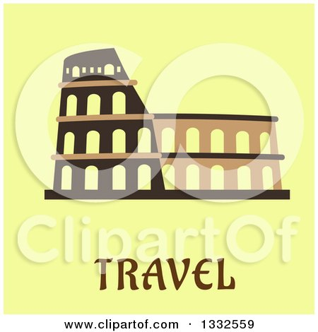 Clipart of a Flat Design of the Flavian Amphitheatre over Travel Text on Pastel Green - Royalty Free Vector Illustration by Vector Tradition SM